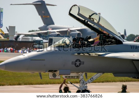 FAIRFORD, UK - July 16, 2006: McDonnell Douglas F/A-18 Hornet performs at Royal air tattoo at RAF fairford.