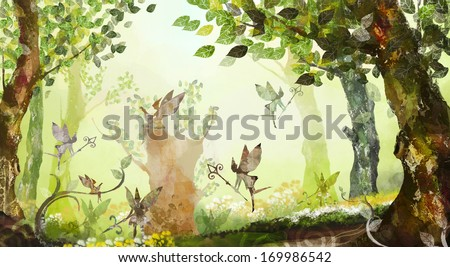 Fairies dancing and flying in the forest. - stock photo