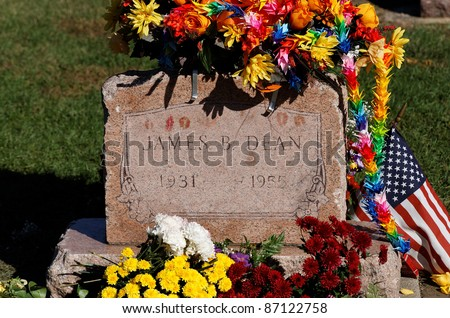 FAIRMOUNT, IN - OCTOBER 1: James Dean's grave site in Fairmount, Indiana, USA on October 1, 2011. The actor and American cultural icon died prematurely as a result of an auto accident in 1955. - stock photo