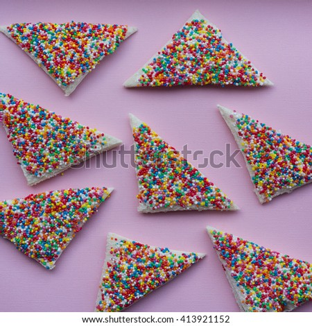 fairy bread is a classic/iconic Australian childhood party food: bread, butter, 100s & 1000s - stock photo