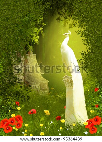 Fairy forest with peacock - stock photo