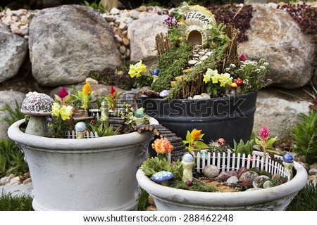 Fairy Garden Flower Pots Fairy garden flower pot walking path stock photo download now fairy garden in a flower pot with walking path wooden bridges and a fairy house workwithnaturefo