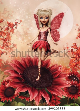Fairy girl standing on a red sunflower on a meadow. 3D illustration.