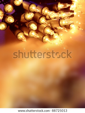 Fairy lights closeup. Copy space - stock photo