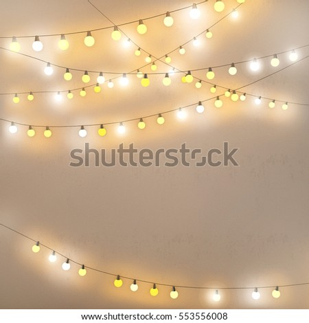 Fairy Lights On Wall Card Background Stock Photo (Royalty Free ...