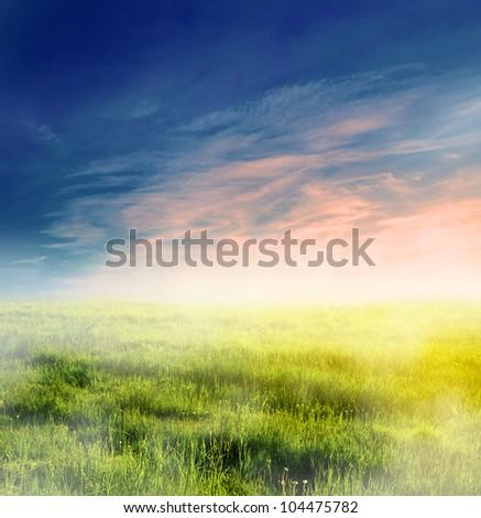 Fairy, magical landscape with sunrise fog. Morning sky and sun. - stock photo