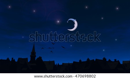Fairy moon over the fabulous city, 3D illustration