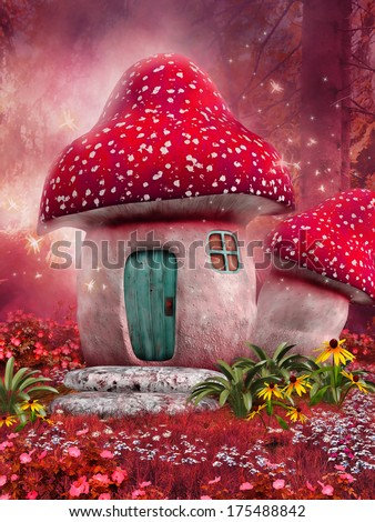 Fairy mushroom house on a pink meadow - stock photo