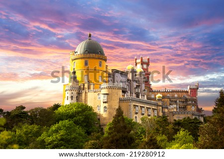 Fairy Palace against sunset sky - Panorama of Pena National Palace in Sintra, Portugal, Europe - horizontal - stock photo