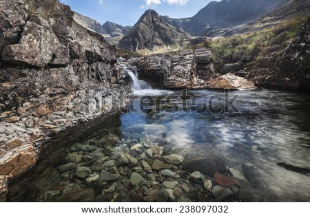 Fairy Pool in Glen Brittle on the Isle of Skye in Scotland. - stock photo