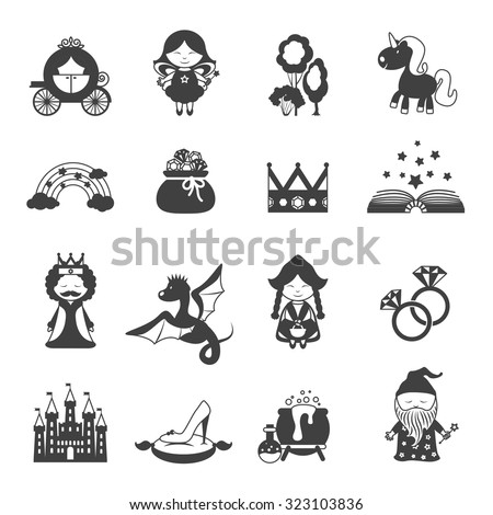 Fairy tale black icons set with princess dragon and magic symbols isolated  illustration - stock photo