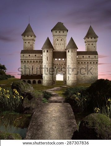 Fairy tale castle in an enchanted garden - stock photo