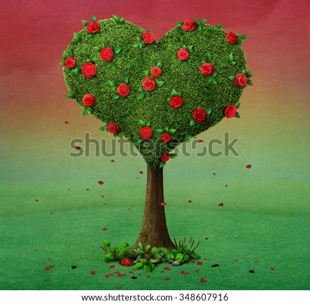 Fairy tale illustration with  flowering tree in  shape of  heart.  - stock photo