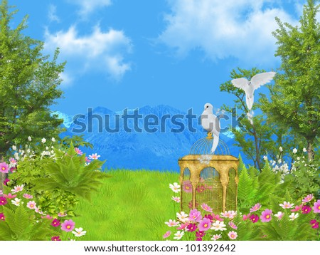 fairy tale lawn - stock photo