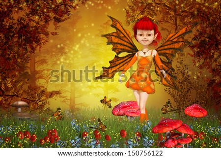 fairy tale lawn and little fairy - stock photo