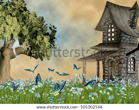 fairy tale lawn with forget-me- not flowers - stock photo