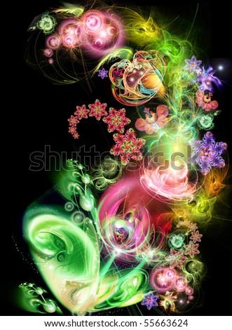 Fairy-tale, luminous flower on a black background - stock photo