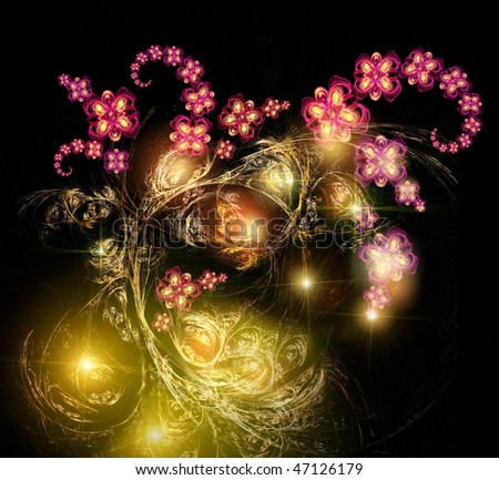 Fairy-tale, mystic luminous bouquet. Shining on a background star sky - stock photo