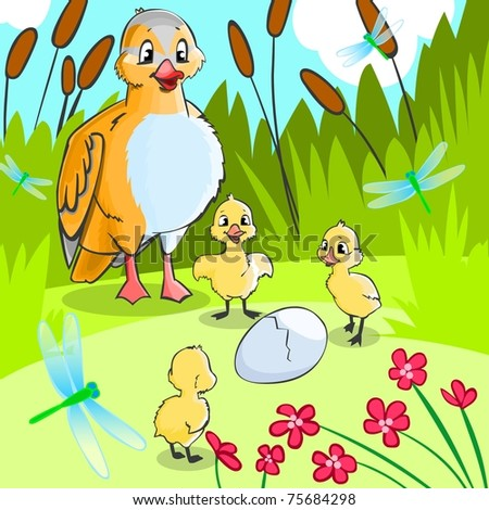 Fairy tale Ugly duckling 2. - stock photo