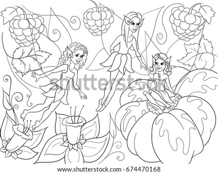 Fairytale World Fairies Coloring Book Children Stock Illustration ...