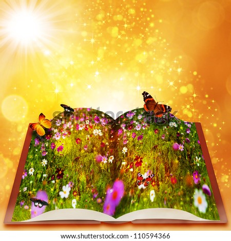 Fairy tales from magic book.  fantasy backgrounds with beauty bokeh - stock photo