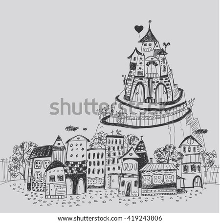 Fairy town with a castle on the hill. Hand contour drawing. - stock photo