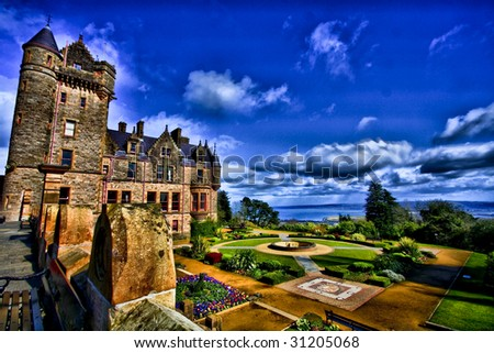 fairyland,beautiful Belfast castle,hdr,beautiful gardens at belfast castle - stock photo