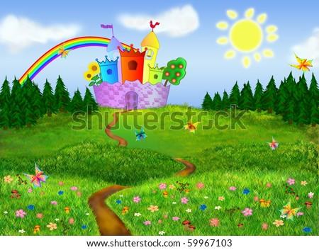 Fairytale background - stock photo