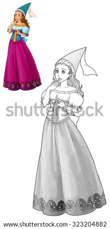 Fairytale cartoon character - princess - coloring page - illustration for the children - stock photo