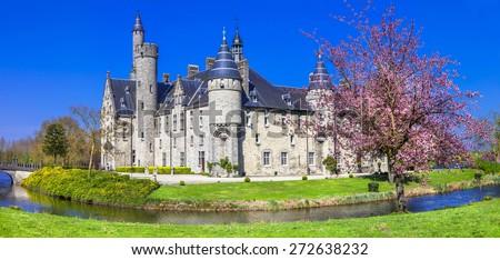 fairytale castle. Belgium, Marnix - stock photo