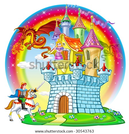 Fairytale illustration of castle