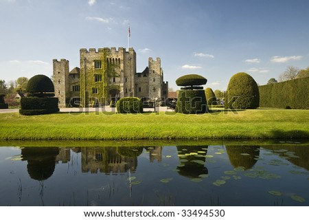 Fairytale medieval Hever Castle - stock photo