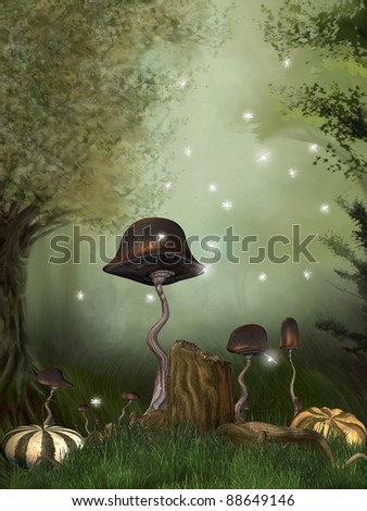 fairytale scene in the forest with pumpkins mushrooms and dragonfly - stock photo