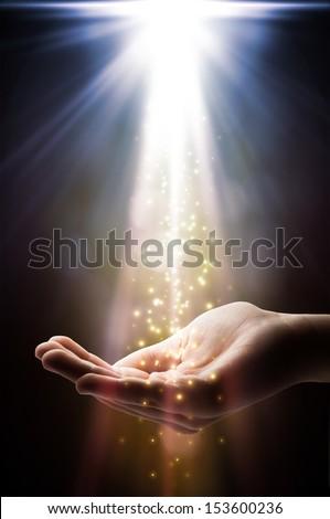 faith falls on your hand  - stock photo