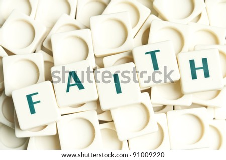 Faith word made by leter pieces