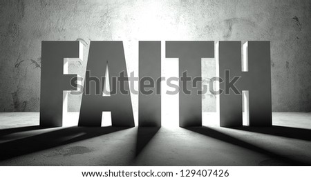 Faith word with shadow, background with text - stock photo