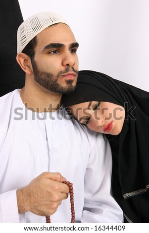 Faithful & Caring Arab Husband - stock photo