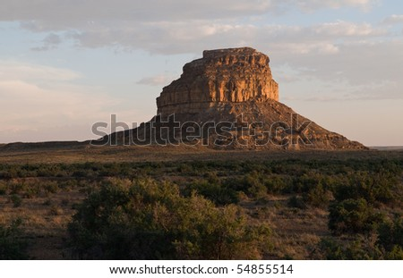 Fajada Butte, Chaco Culture National Historic Park, New Mexico, at sunset - a lunar and solar observatory for Chacoan peoples (ca. 900-1200 AD)
