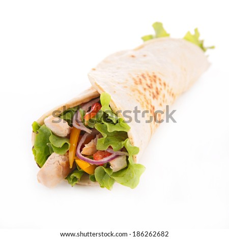 fajita with vegetable and chicken - stock photo