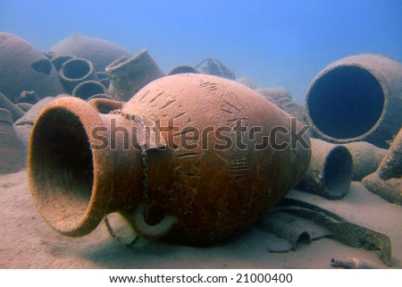 Fake antique pitchers to attract divers in Naama Bay (Sharm el Sheikh, Egypt) - stock photo