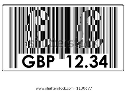 "Fake Bar Code with text ""GBP"" a big £ and space to insert price #9"