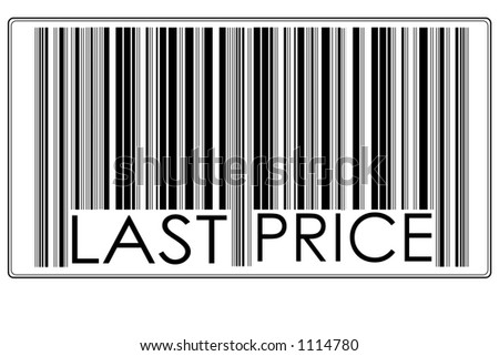 "Fake Bar Code with text ""last price"" #1"