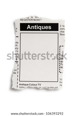 Fake Classified Ad, newspaper, Antiques Sale concept. - stock photo