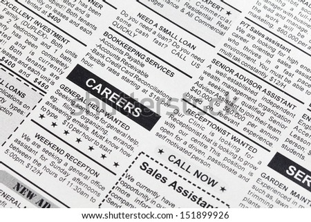 Fake Classified Ad, newspaper, business concept. - stock photo