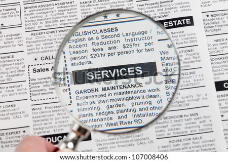 Fake Classified Ad, newspaper, Services concept.