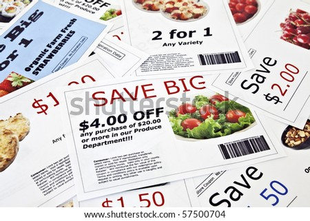Fake coupon background.  All coupons were created by the photographer.  Images in the coupons are the photographers work and are included in the release. - stock photo