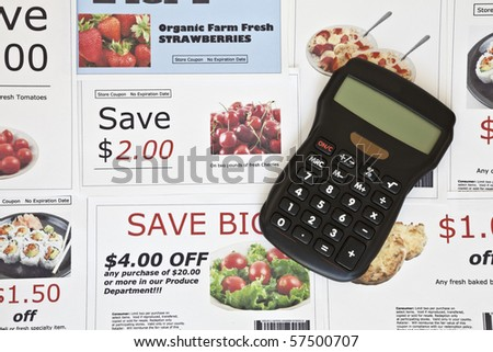 Fake coupon background with Calculator.  All coupons were created by the photographer.  Images in the coupons are the photographers work and are included in the release. - stock photo