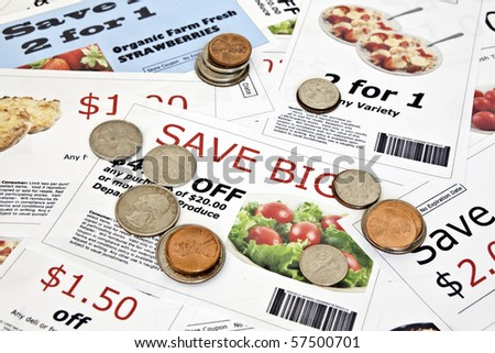 Fake coupon background with coins  All coupons were created by the photographer.  Images in the coupons are the photographers work and are included in the release. - stock photo
