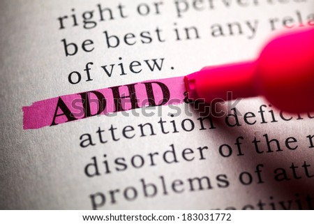 Fake Dictionary, definition of the word ADHD. - stock photo