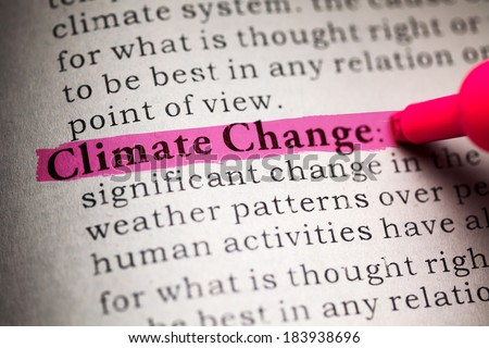 Fake Dictionary, definition of the word Climate Change. - stock photo